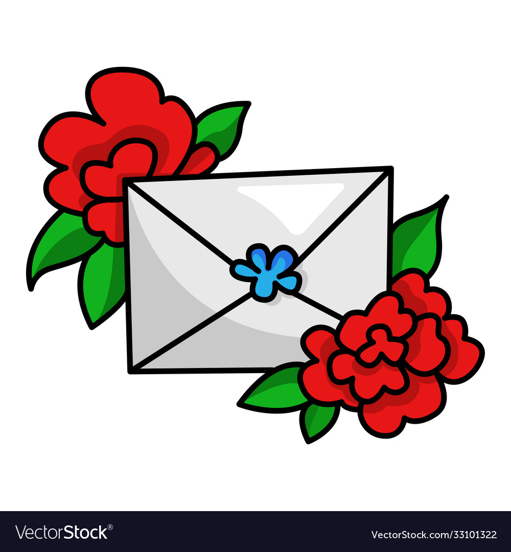 Envelope with red flower holiday letter