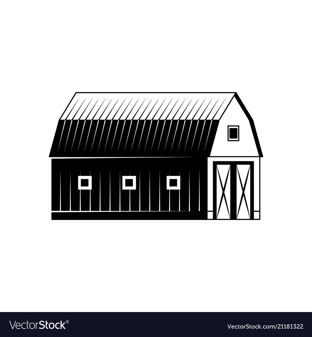 Farm barn black and white silhouette isolated on