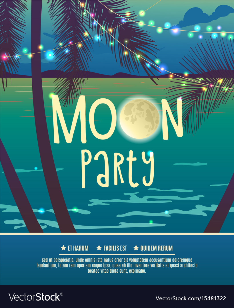 flyer for the full moon party royalty free vector image