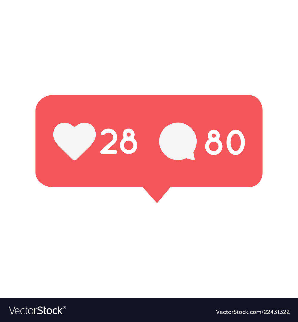 Like and comment notification button icon social