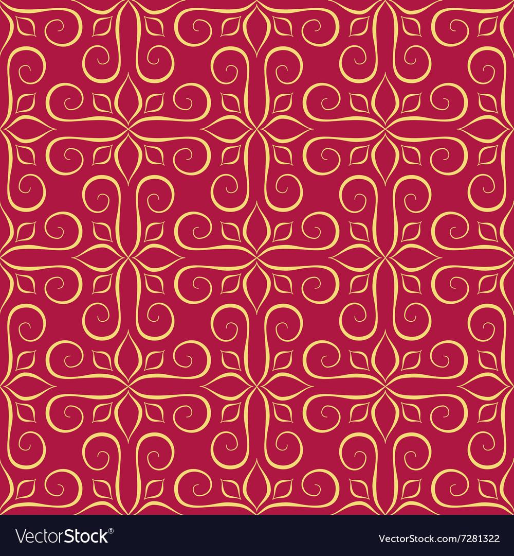 Luxury Golden Seamless Pattern on Red