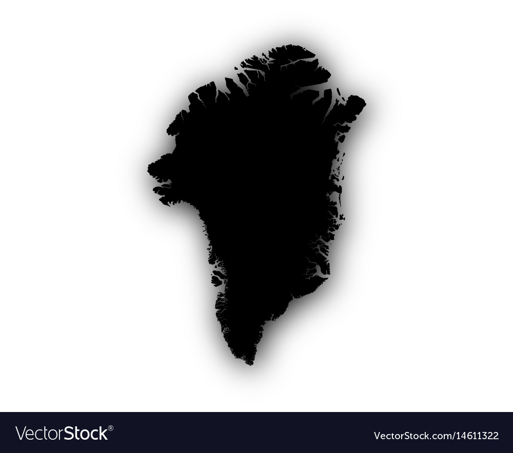 Map of greenland with shadow vector image