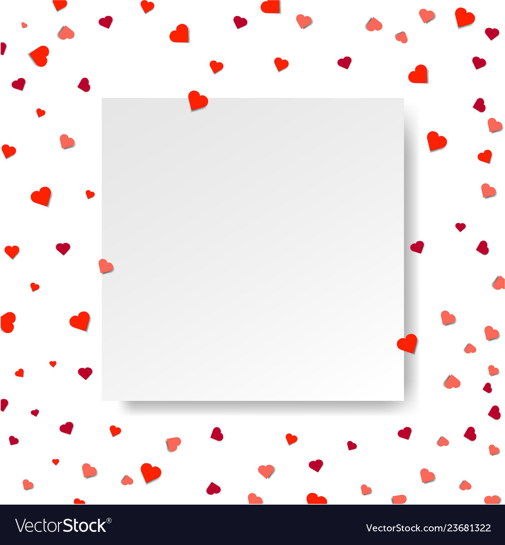 Sale poster with hearts and paper