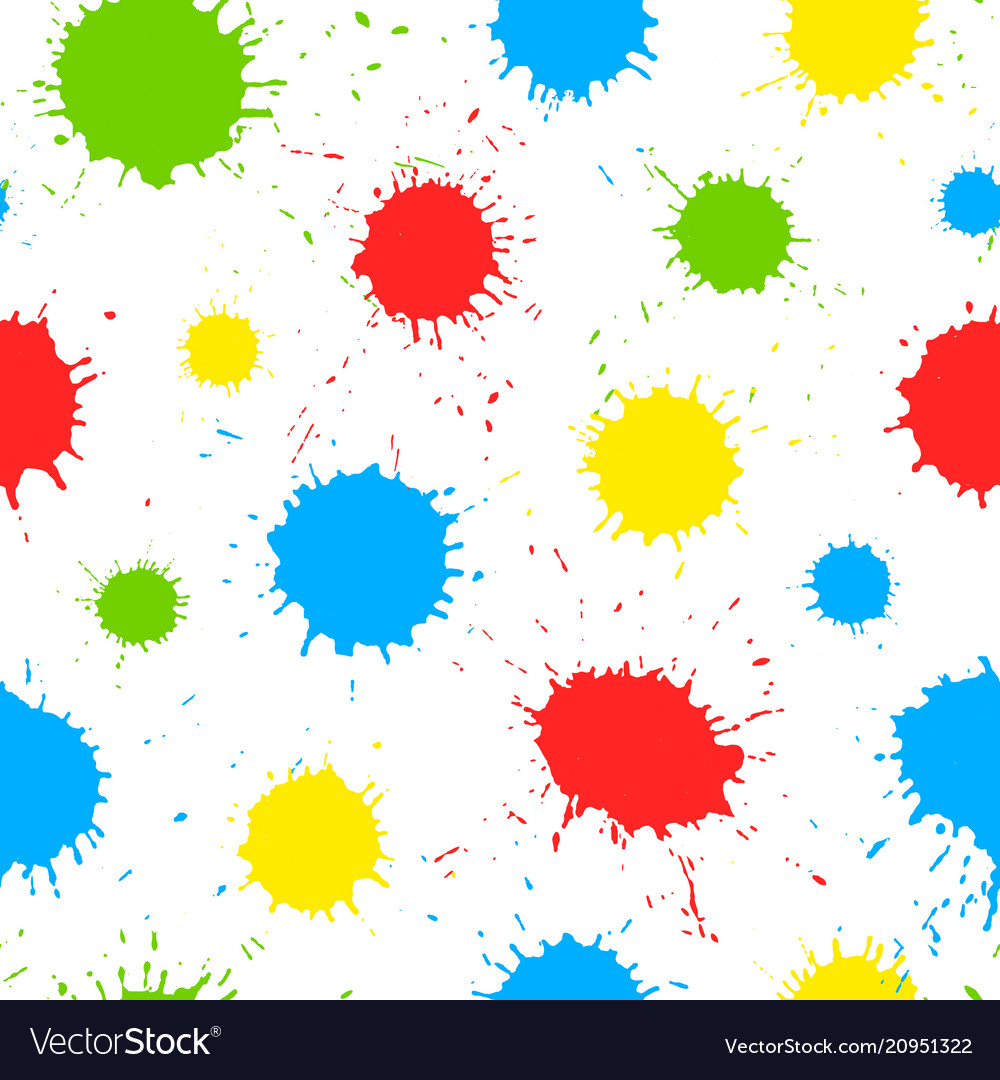 Seamless pattern with color paint splashes
