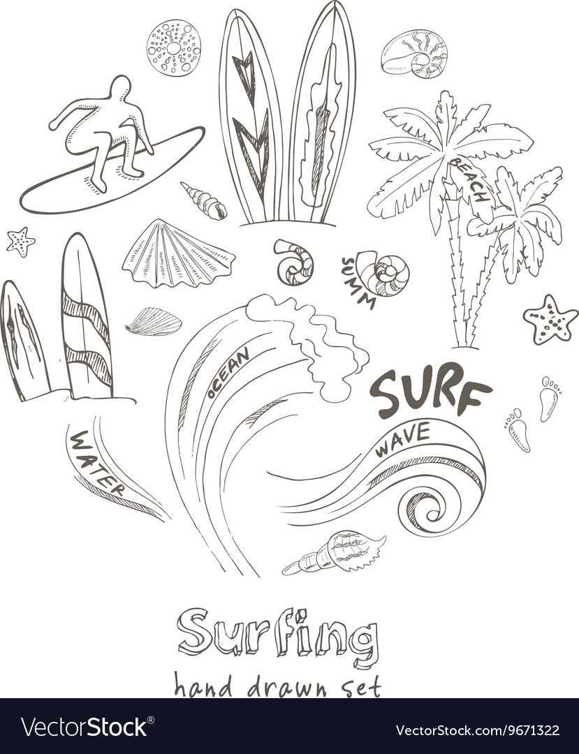 Set of doodle sketch Surfing sport icons