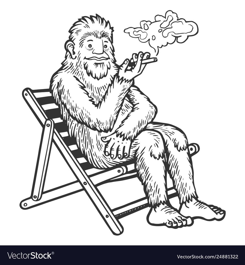 Snowman yeti smoking sketch engraving