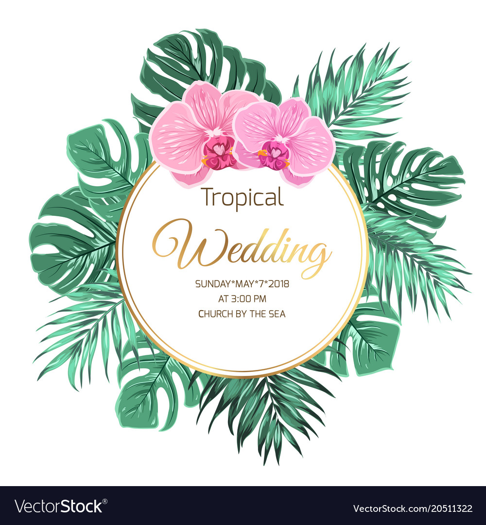 Tropical wedding invitation orchid jungle greenery