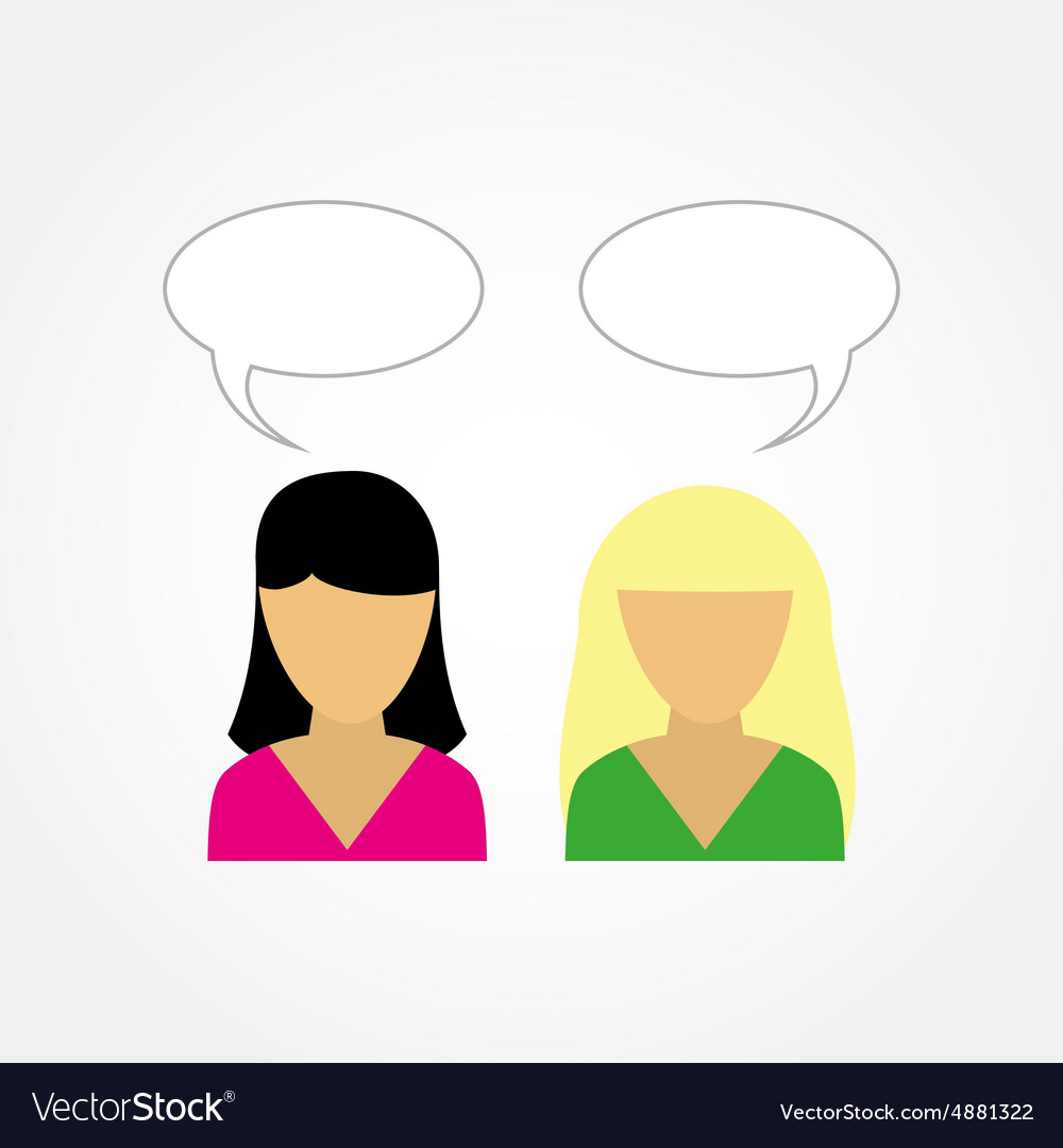 two girls talking to each other royalty free vector image