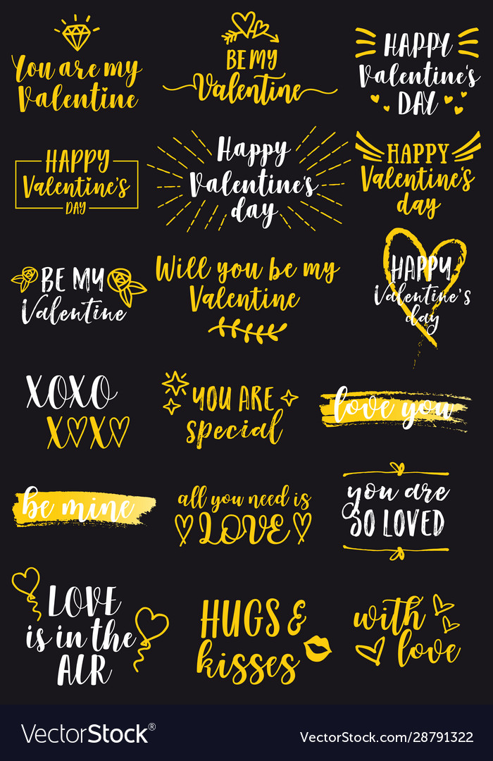 Valentines day cards design elements