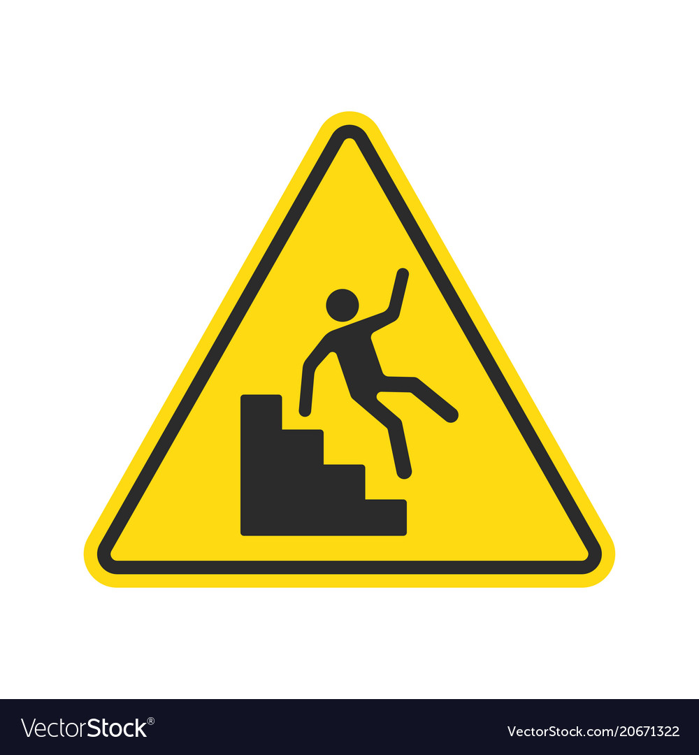 Warning Falling Off The Stairs Sign Vector Image