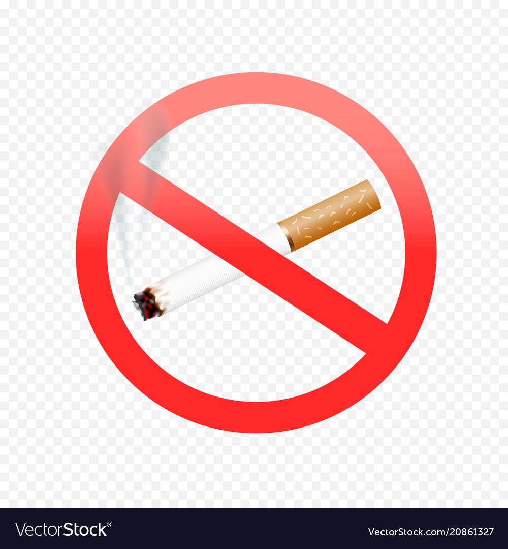 Cigarette forbid sign on transparent