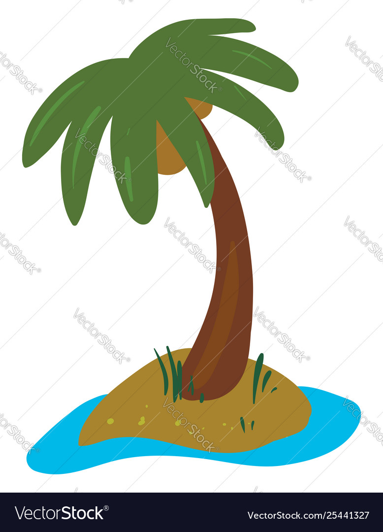 Clipart Palm Tree Grown In Land Royalty Free Vector Image