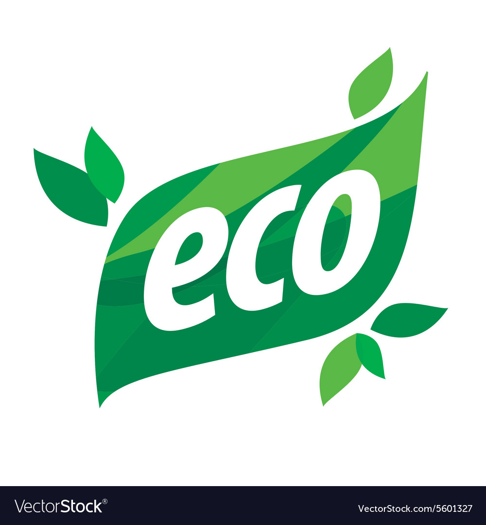 Eco logo in the form of a green leaf vector image