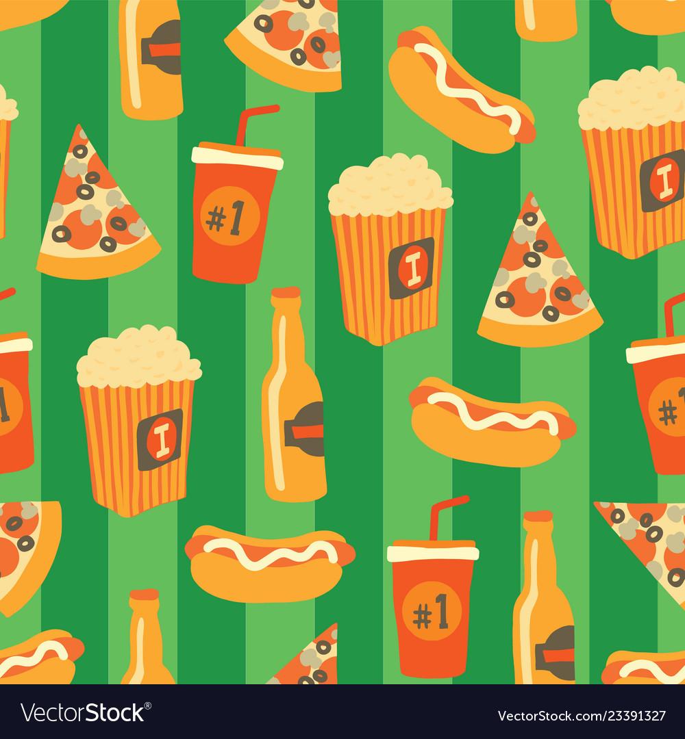 Fast food seamless pattern snack drinks