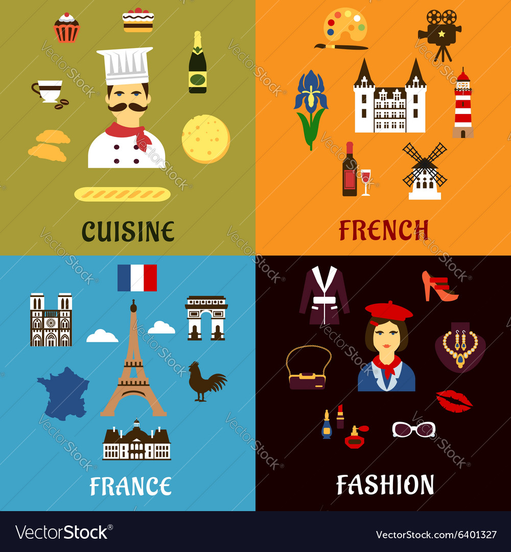 France travel journey and landscape icons