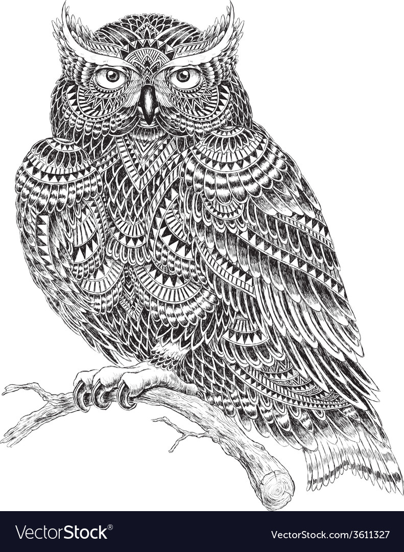 Hand Drawn Abstract Pattern Owl