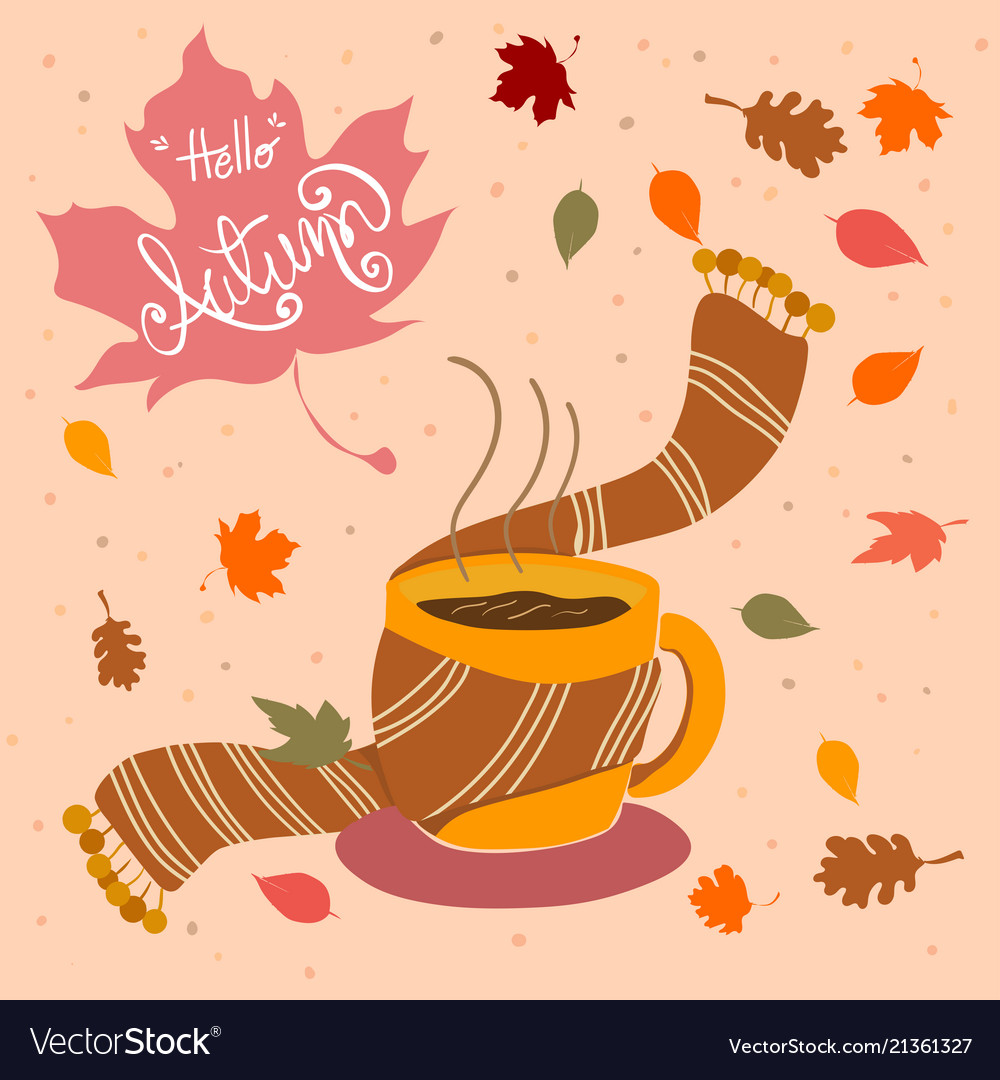 Hand drawn coffee cup with scarf and fall leaves