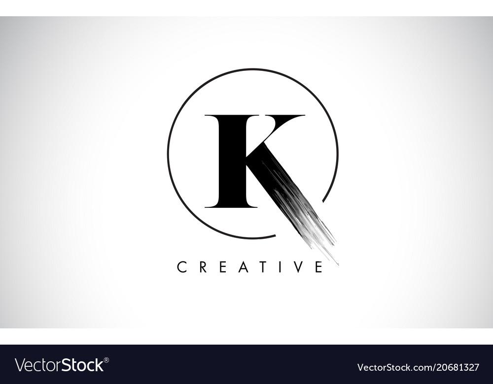 K Brush Stroke Letter Logo Design Black Paint