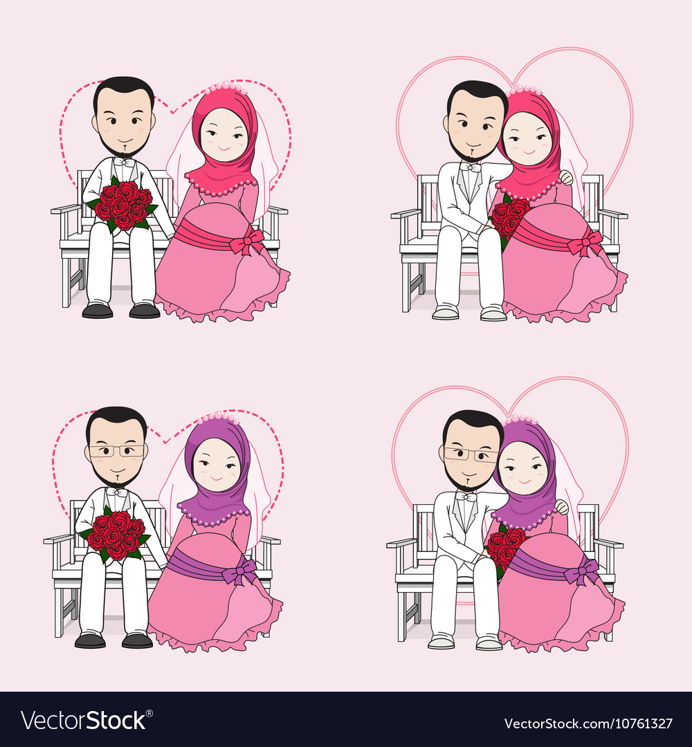 muslim wedding couple cartoon royalty free vector image