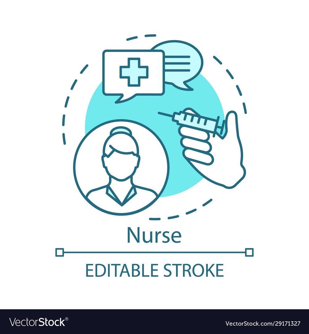 Nurse concept icon medical treatment idea thin