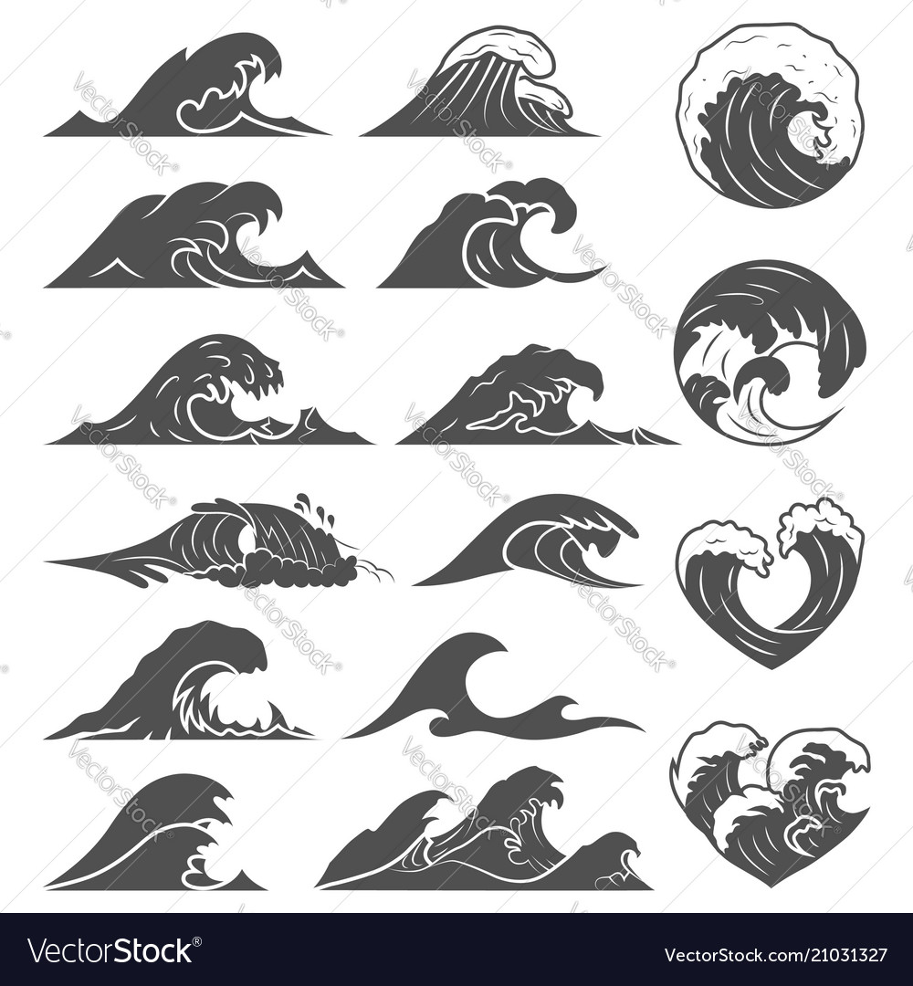 Ocean waves collection sea storm wave isolated vector image