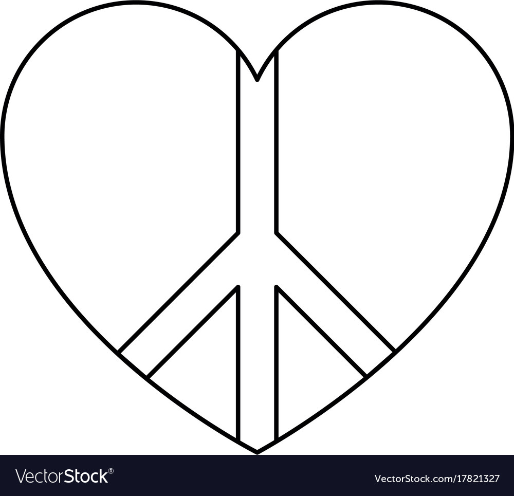 Peace Symbol With Heart Royalty Free Vector Image