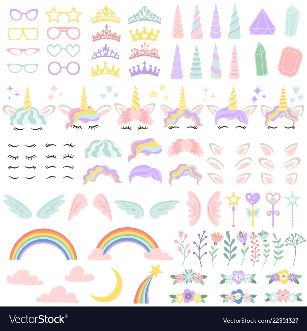 Pony unicorn face elements pretty hairstyle vector