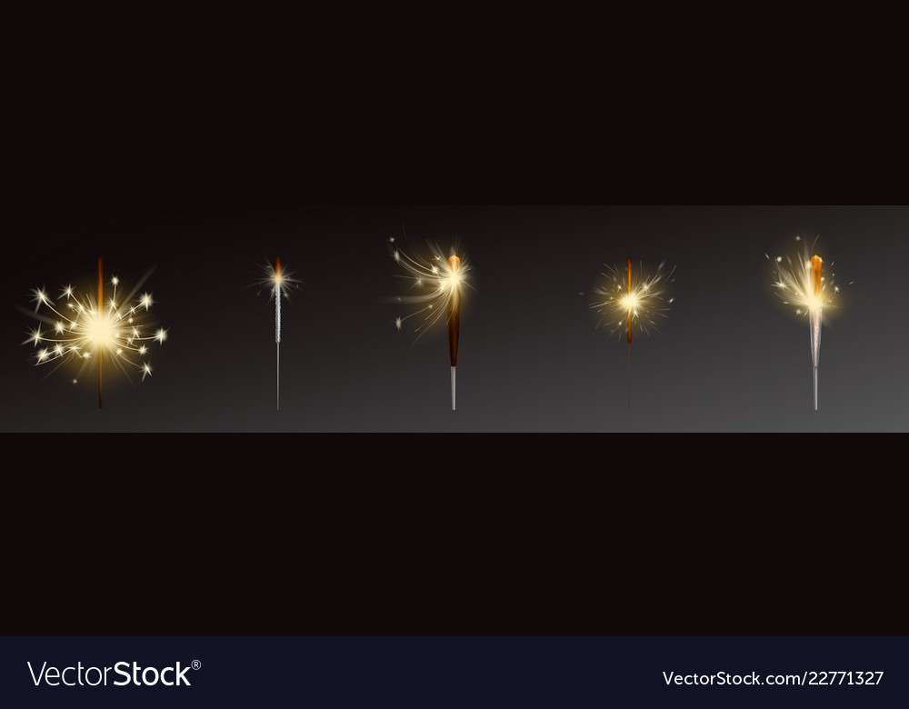 Realistic sparklers set wind blows sparks
