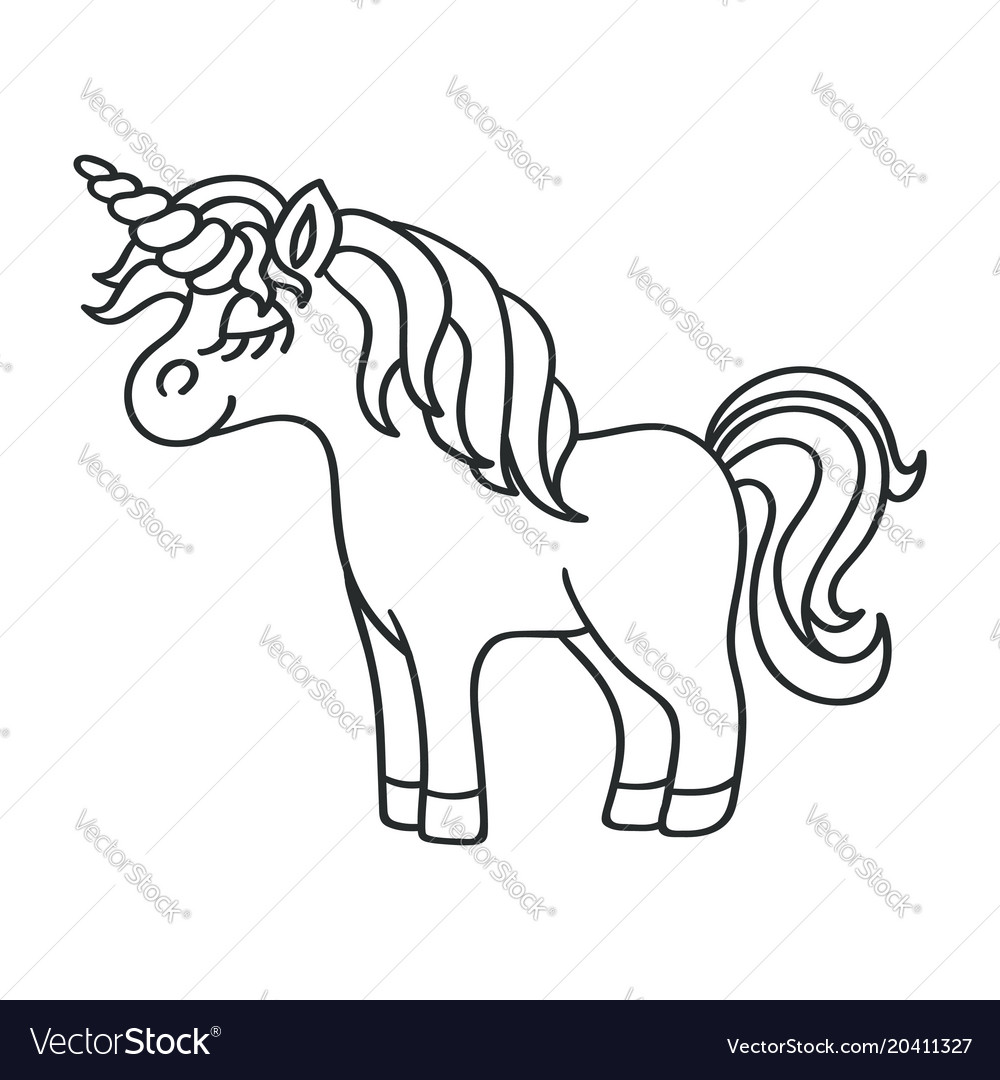 Unicorn black sketch icon on the white background