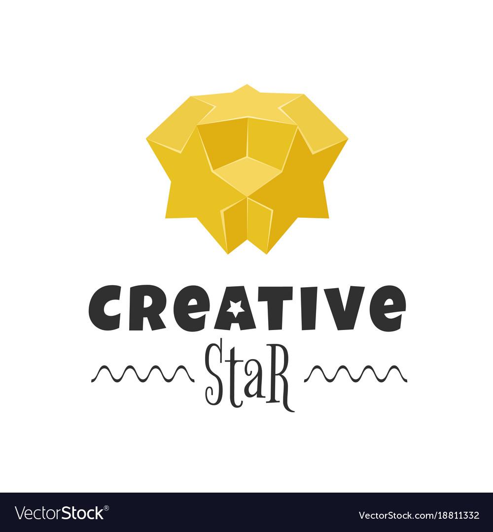 3d colorful star logo design element vector image