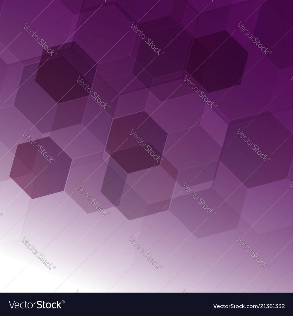abstract digital hexagon on purple background vector image