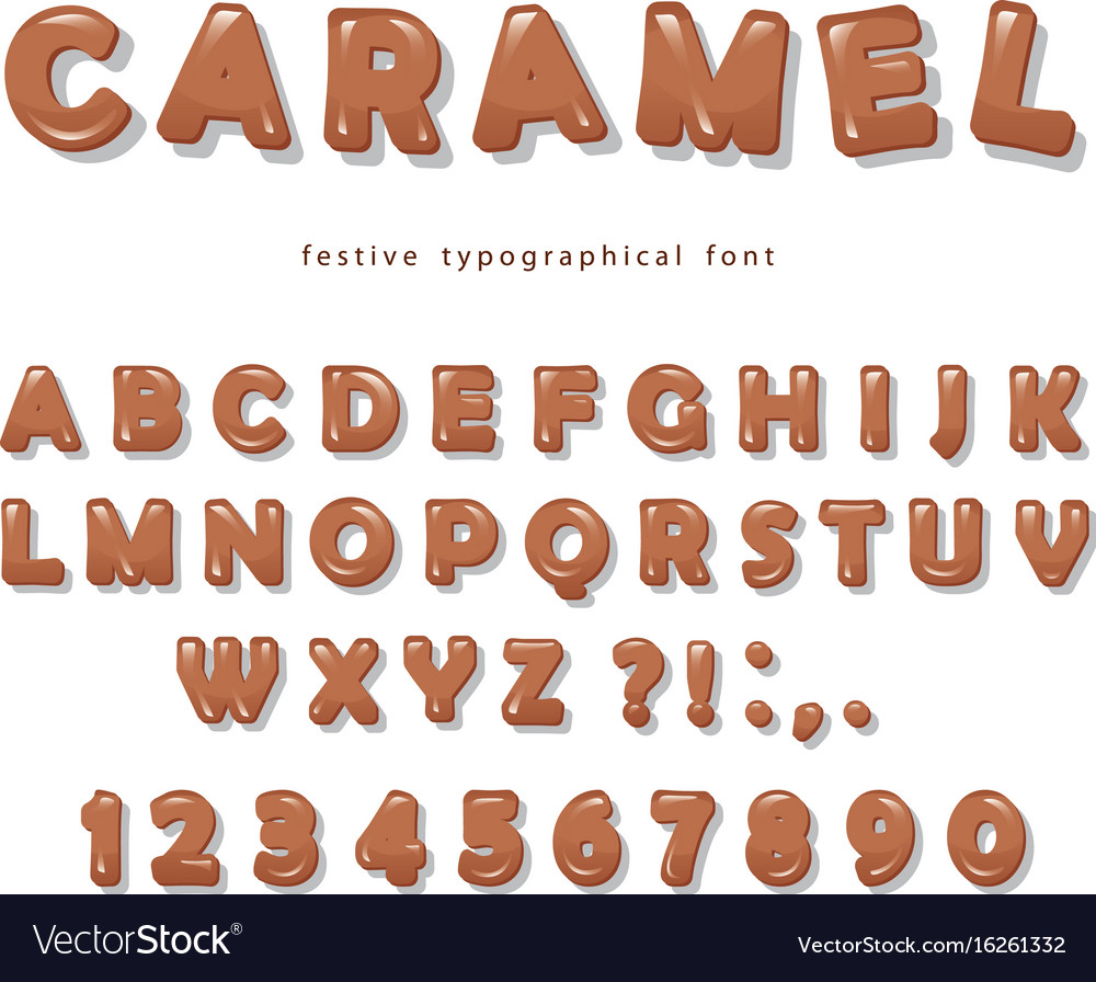 Caramel font design sweet glossy abc letters and