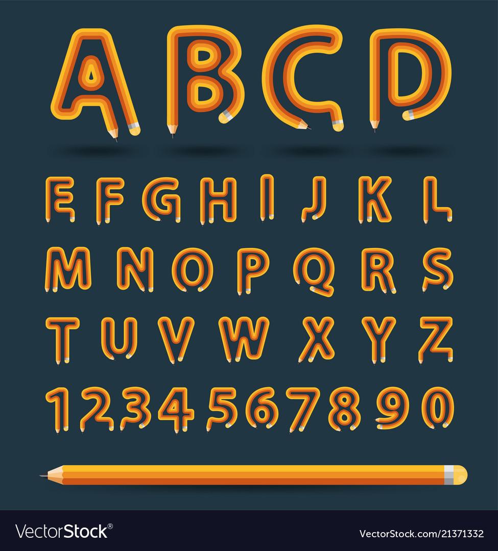 Creative pencil alphabet style