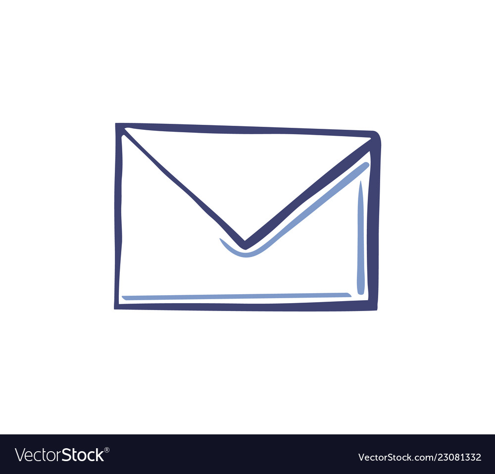 Envelope icon in line sketch style isolated