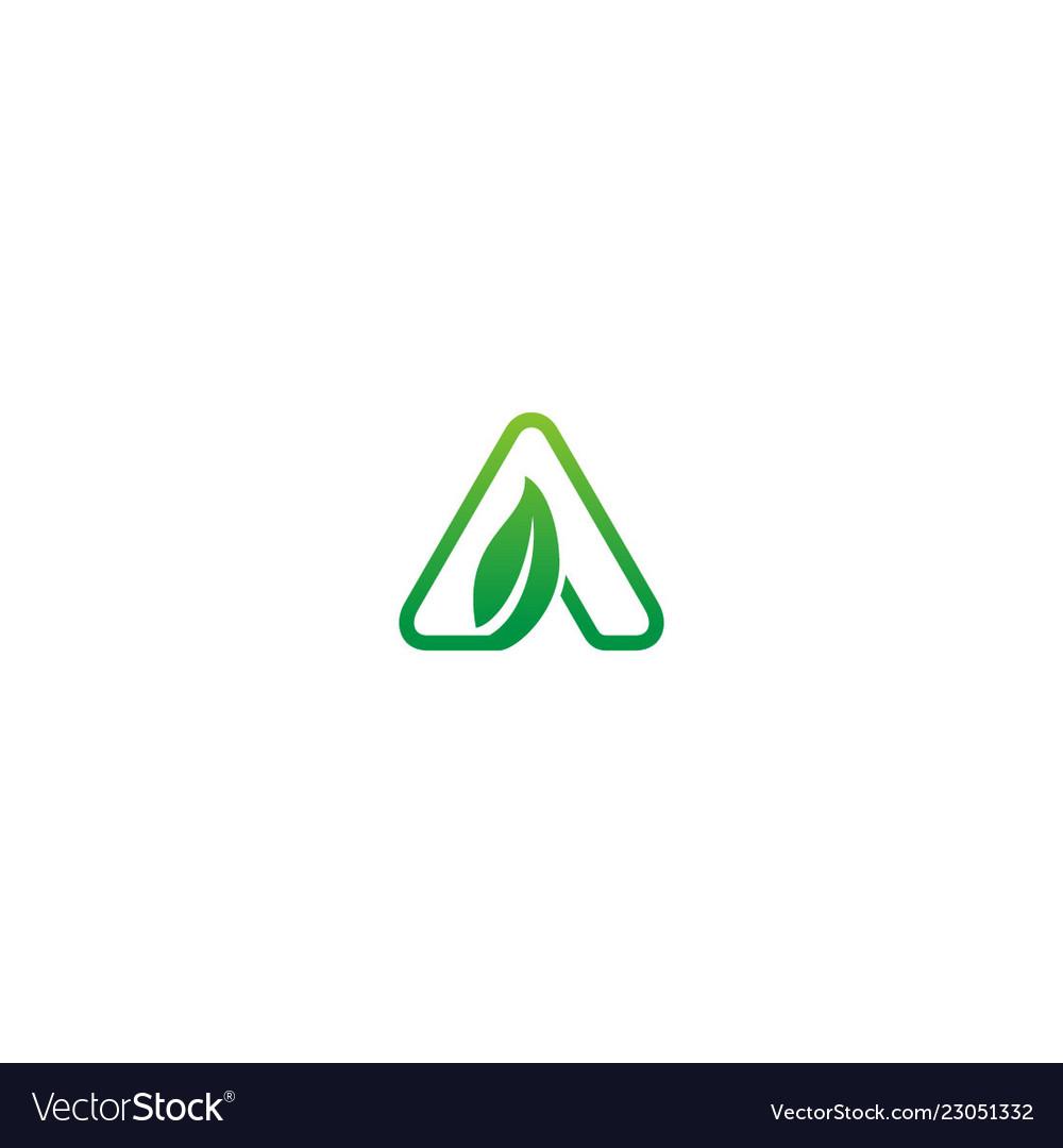Green leaf triangle logo
