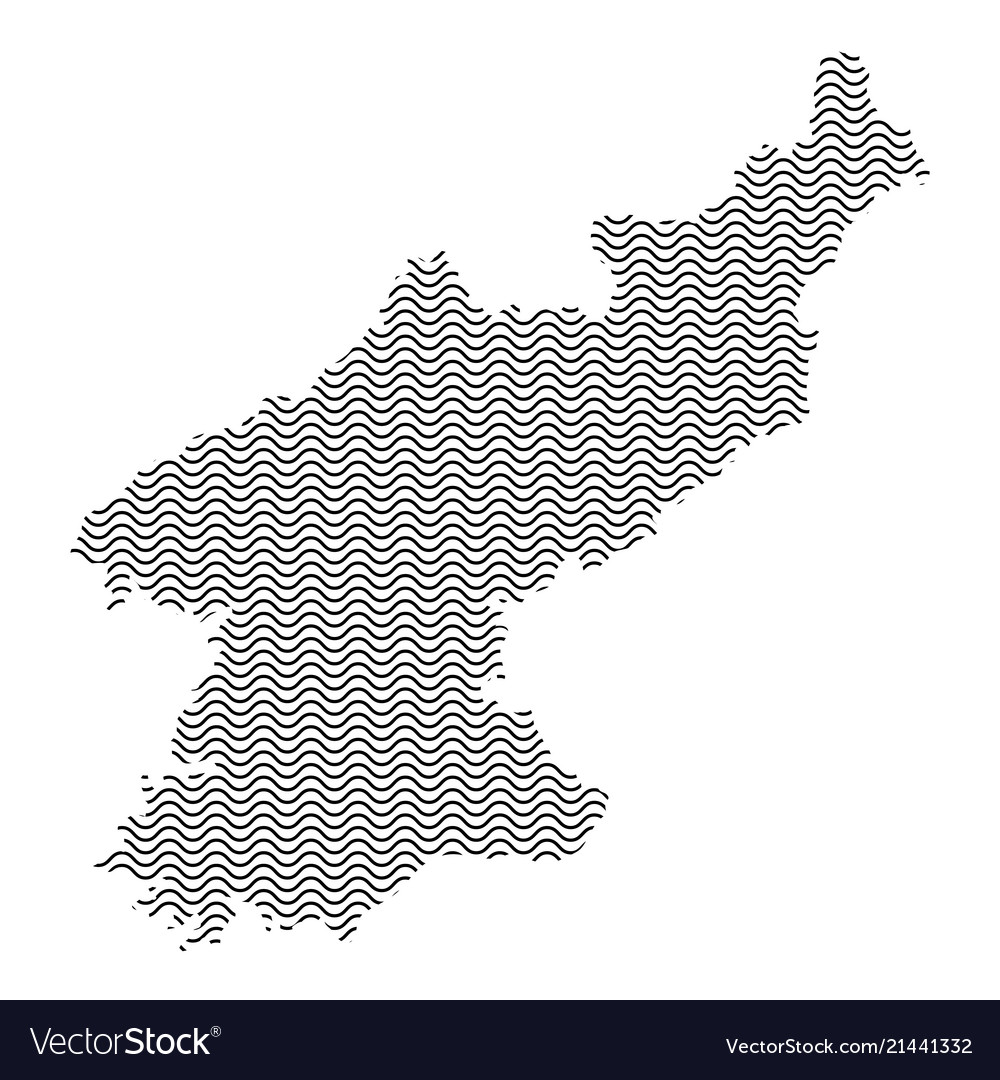 North korea map country abstract silhouette of Vector Image