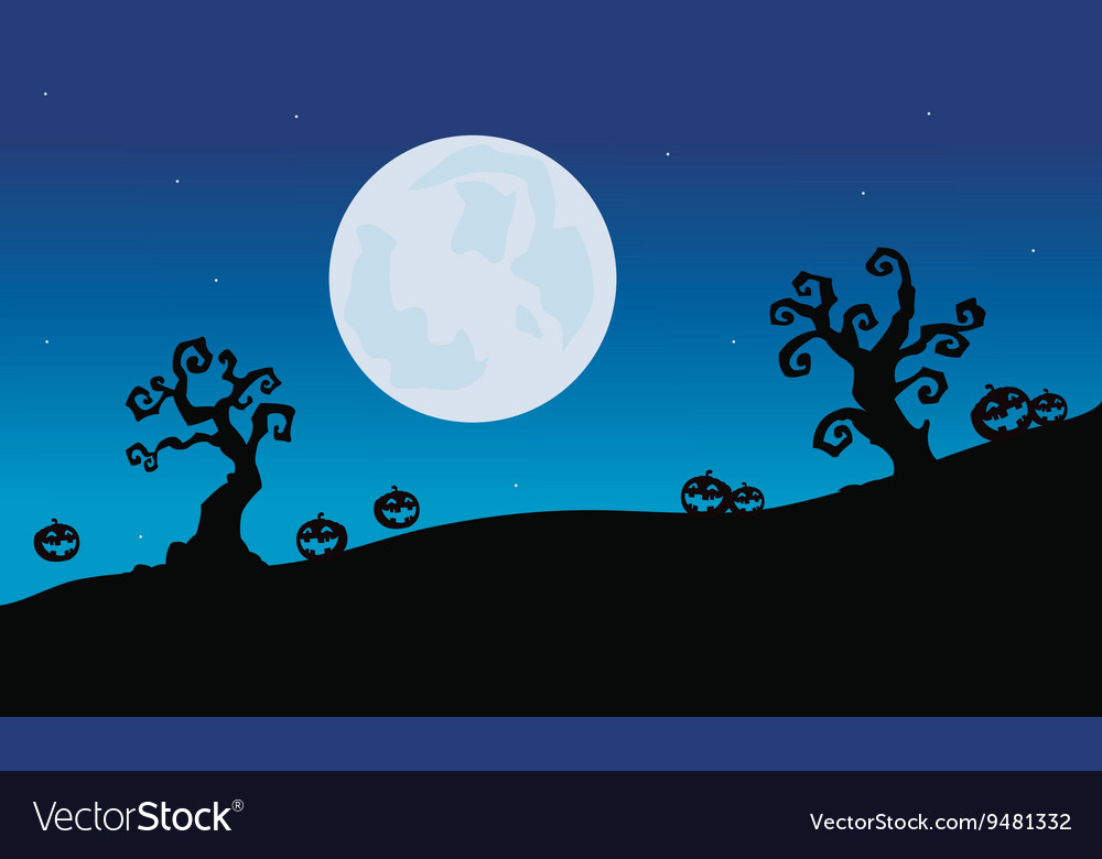 Pumpkins and dry tree Halloween silhouette vector image