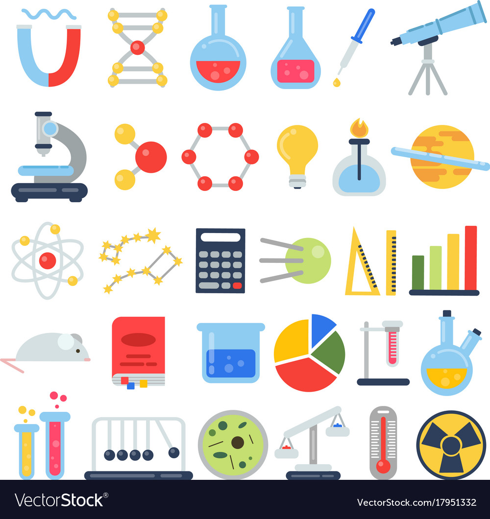 Scientific icon set science lab with different