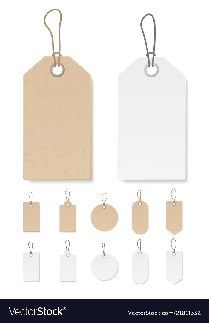 Set of blank gift box tags or sale shopping labels