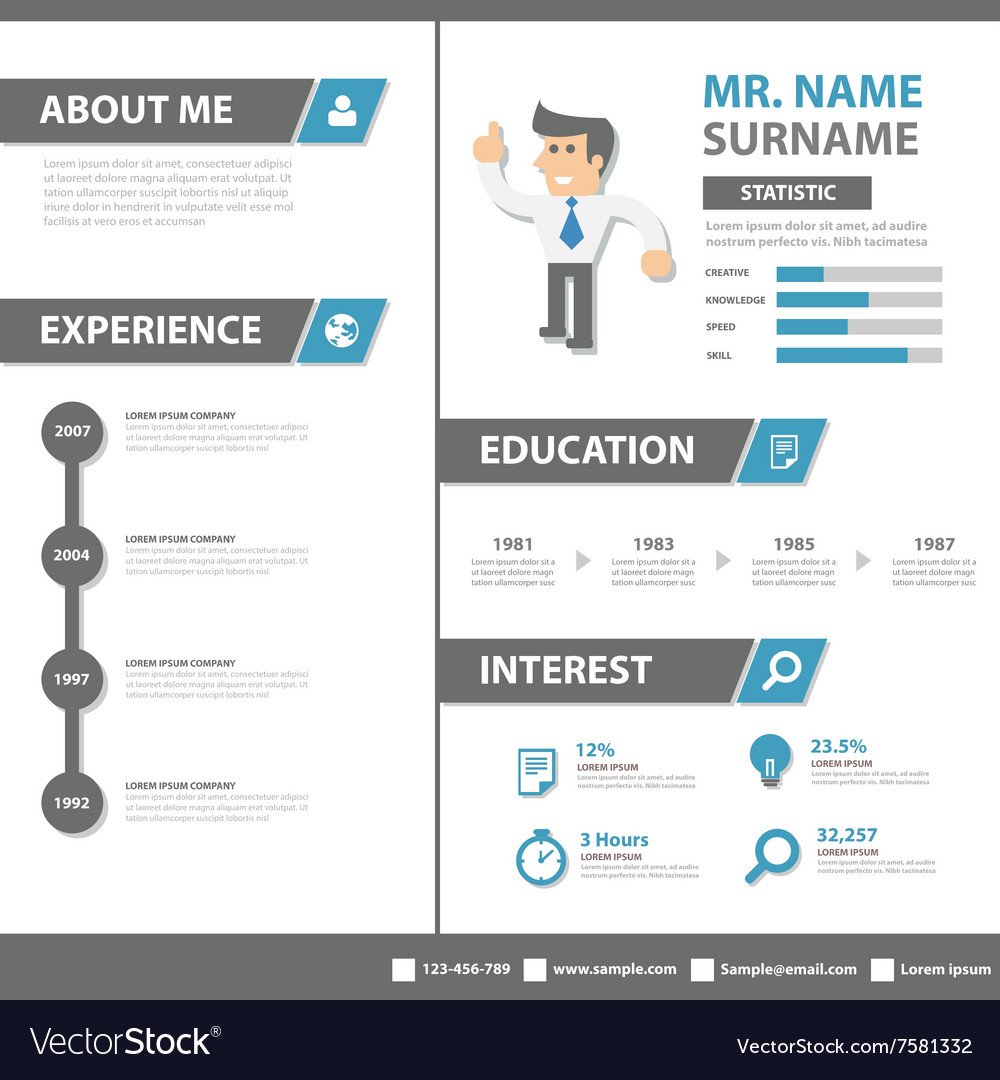 smart creative resume business profile cv vitae vector image
