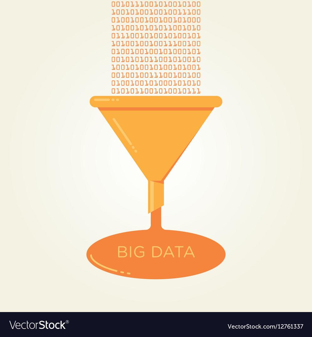 Big Data analysis filter funnel flat