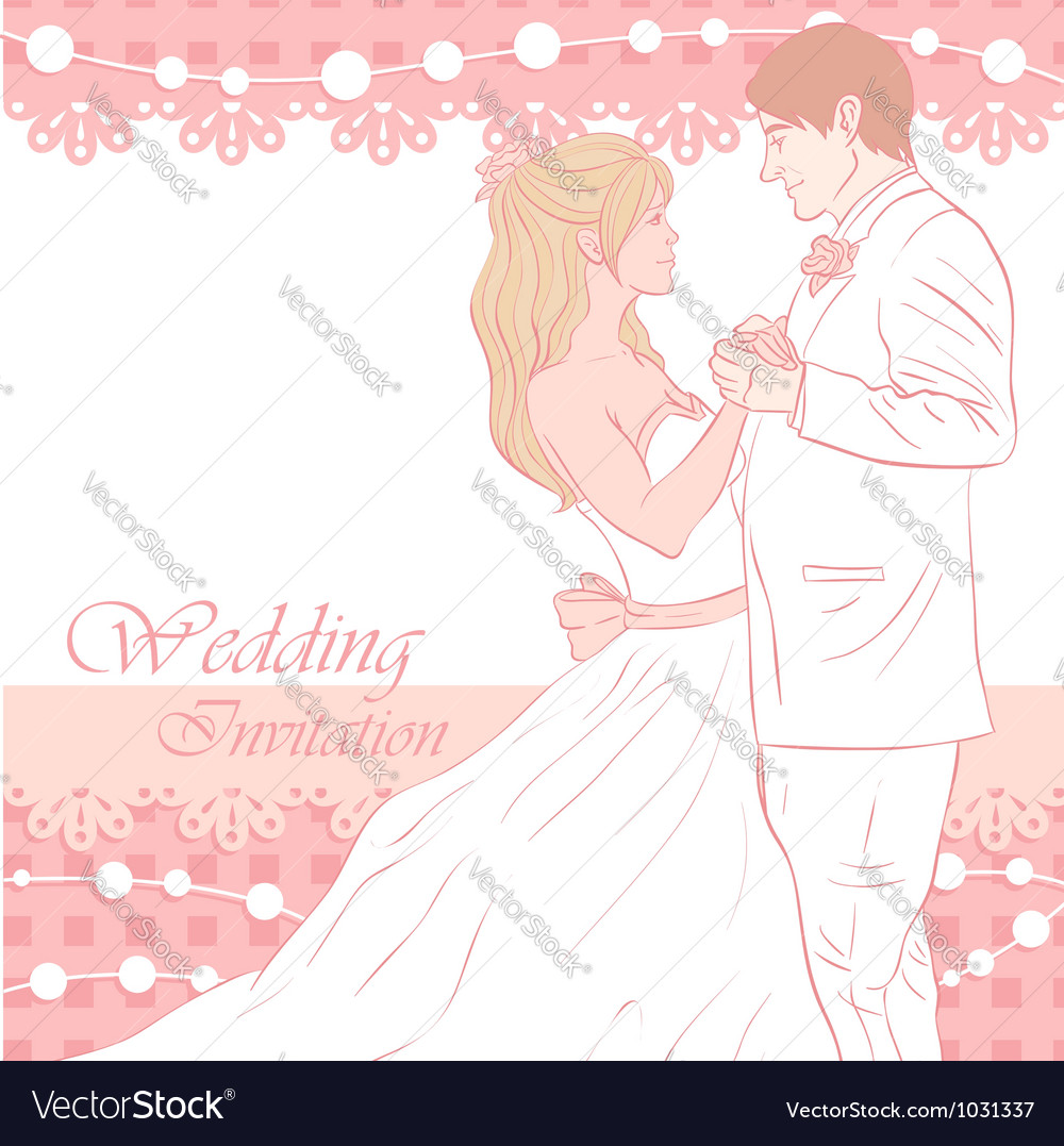 Bride and groom wedding invitation card Royalty Free Vector