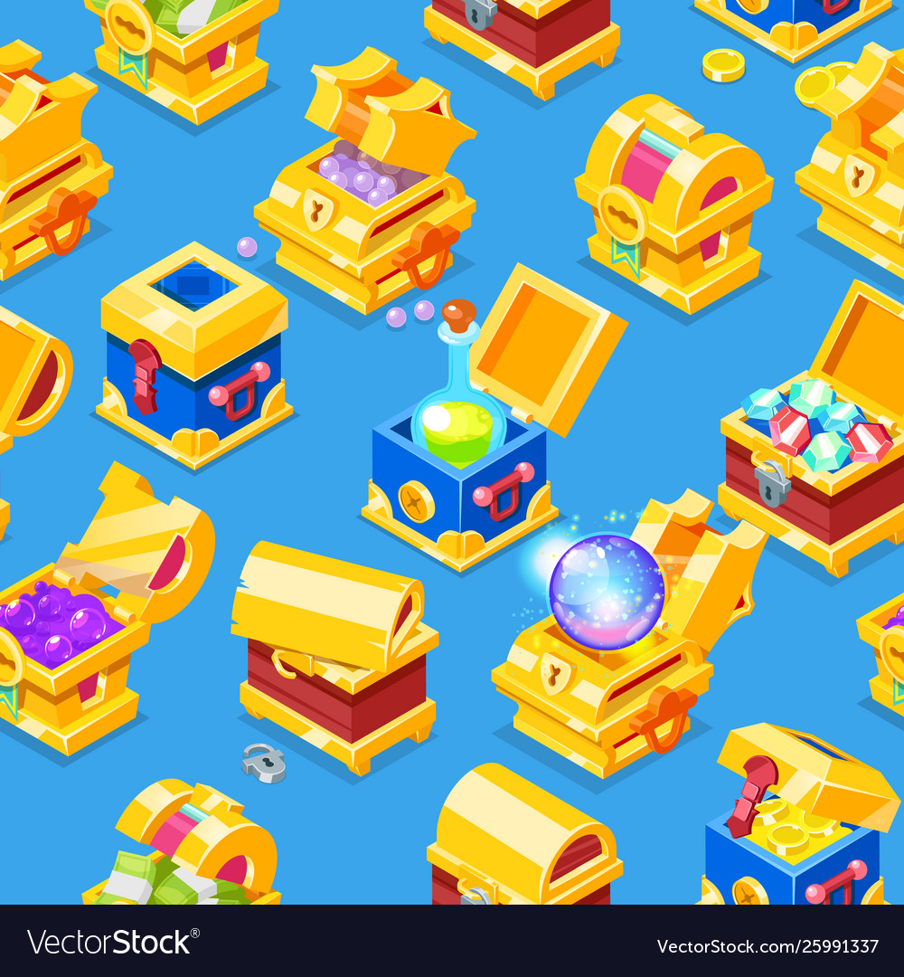 Chest icon isometric treasure box with gold
