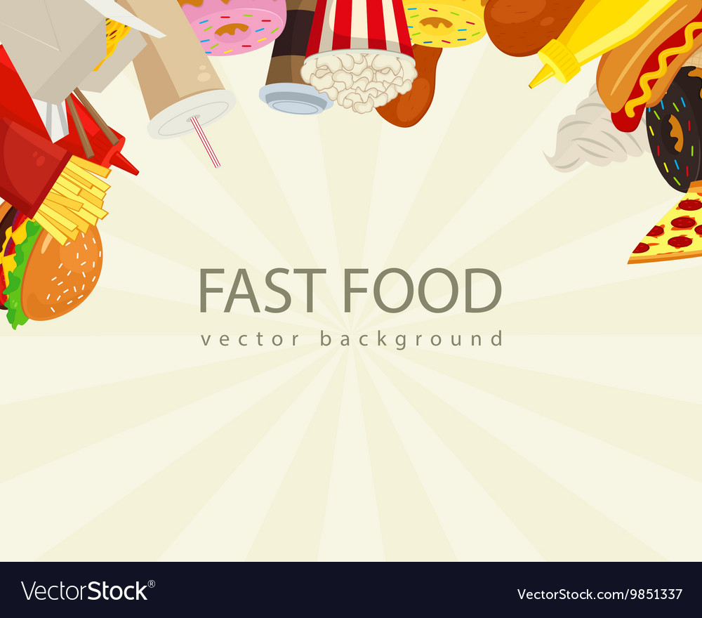 Fast food background with colorful fast food icons