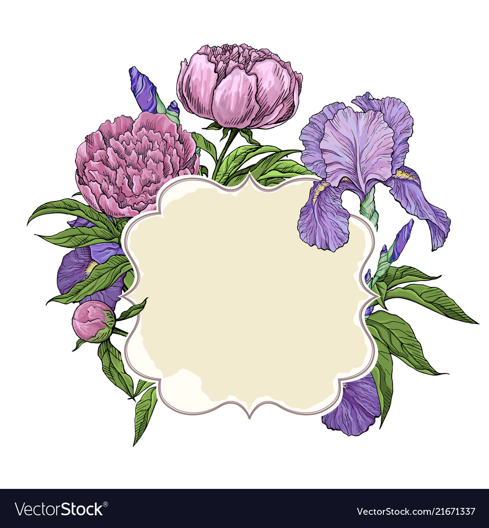Frame cover greeting card with beautiful flowers