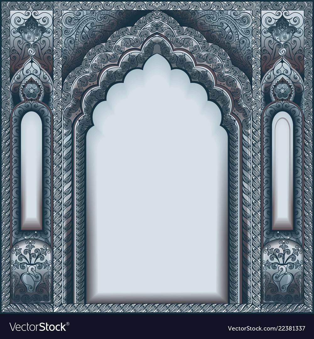 Indian ornamented arch color silver
