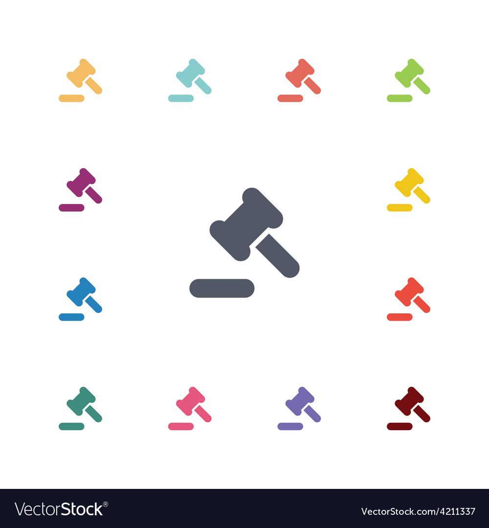 Law flat icons set