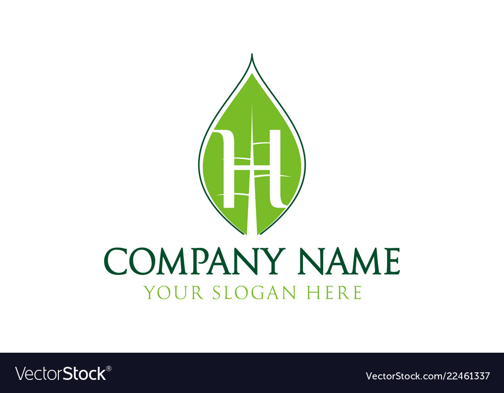Letter h and leaf logo inspiration isolated on