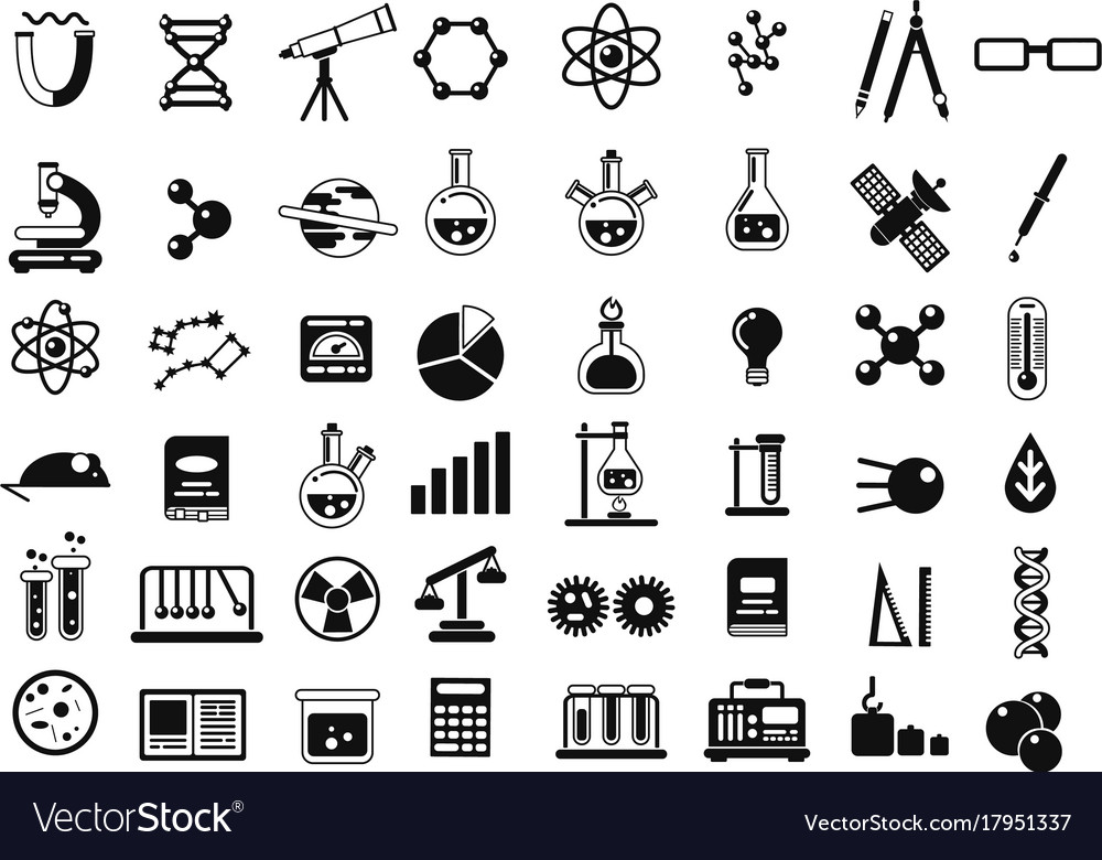 Monochrome set of different chemical symbols and