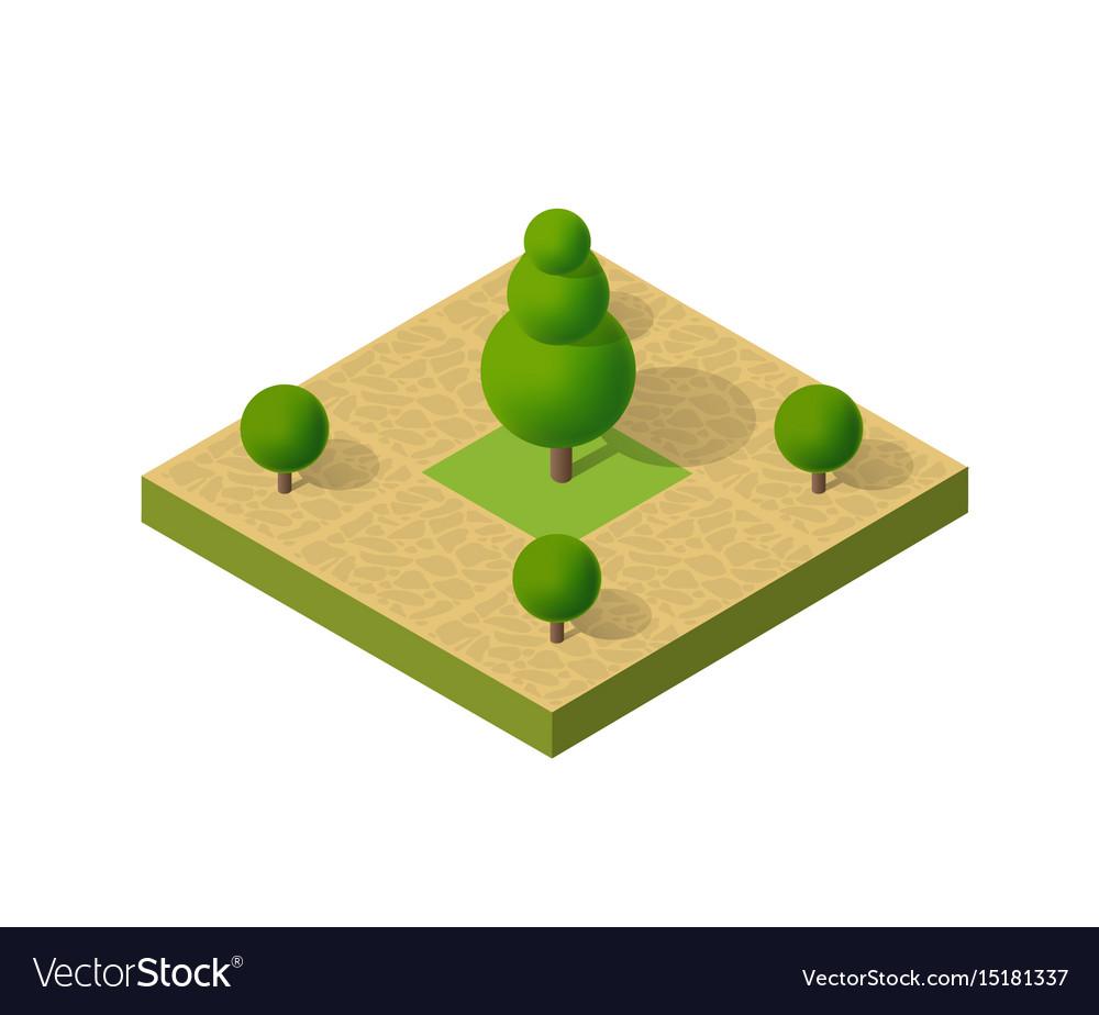 Natural ecological landscape isometric icon city